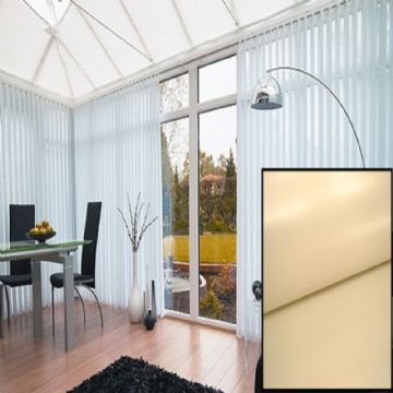 Made to Measure Blackout Vertical Blinds in PVC Beige With Heat Reflective Coating